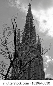Onze-Lieve-Vrouwekerk, or Church of Our Lady, Bruges, Belgium. At 122 m, the tower is the highest building in Bruges and the second tallest brick building in the world. Completed in the 15-th century.