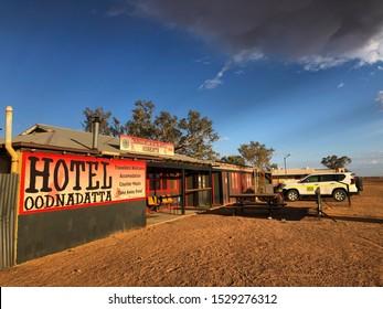 OODNADATTA, SOUTH AUSTRALIA, OCTOBER 2019; The historic Transcontinental Hotel.
