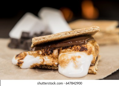 Ooey Gooey Marshmallow Smore on brown paper