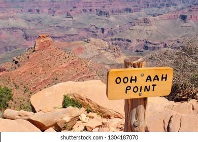 Ooh Ahh Point, hiking trail sign, Grand Canyon, Arizona, USA