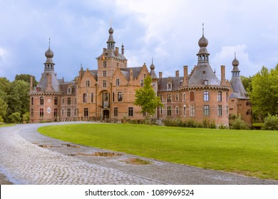 Ooidonk medieval castle in Flanders Belgium rebuilt in renaissance style in the 16th century