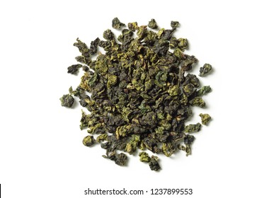 Oolong tea on white background. Top view. Close up. High resolution