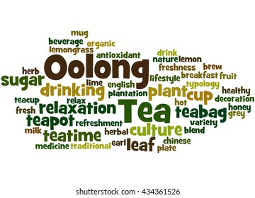 Oolong Tea, word cloud concept on white background.