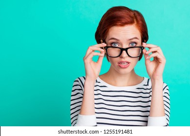 Oop! Something went wrong! Close up picture of serious cute with short length hair style lovely thoughtful she her person touching specs looking at camera wearing sweater isolated teal background