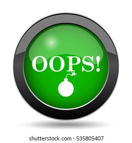 Oops icon, green website button on white background.