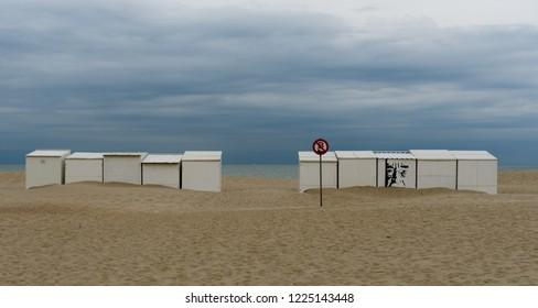 Oostduinkerke, Belgium - August 9, 2018: Beach huts at Oostduinkerke West Flanders Belgium