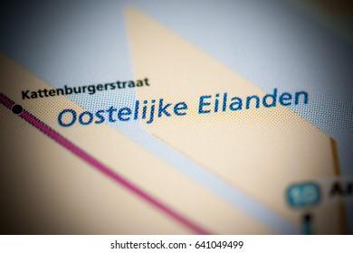 Oostelijke Eilanden Station. Amsterdam Metro map.