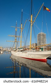 Oostende, Belgium - 2 April 2017: Mercator ship returned to the marina of Ostend, after a period of renovation.