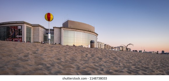 Oostende, Belgium - 2 August 2018: Facade of the Casino building, designed by architect Léon Stynen, located next to the beach.