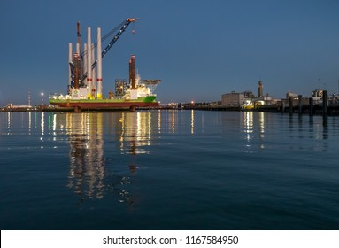 Oostende, Belgium - 2 August 2018: The A2Sea wind turbine installation vessel 'Sea Installer' in the port of Oostende at night