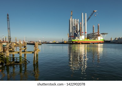 Oostende, Belgium - 2 August 2018: The A2Sea wind turbine installation vessel 'Sea Installer' in the port of Oostende.