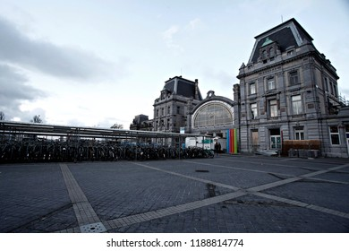 Oostende Belgium Apr. 16, 2016. Exterior view of the Oostende train station.