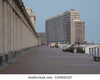 Oostende, Belgium - August 7, 2018: The dyke of oostende early in the morning.