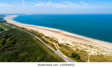 Oosterschelde flood barrier in the Netherlands at the Northern Sea taken from above with a drone