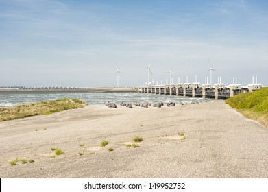 Oosterschelde flood barrier in Zeeland, Netherlands. part of the Dutch Delta Works
