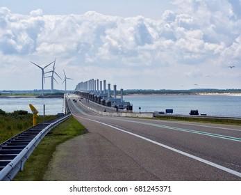 """""""Oosterscheldekering"""" storm surge barrier part of Delta Works in Zeeland, Netherlands"""