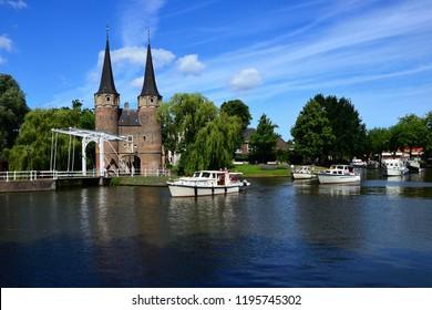 Oostpoort or Eastgate in de old city of Delft Holland