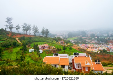 Ooty, India. Aerial view of Nilgiri mountain village in Tamil Nadu, India. Ooty is a popular resort with beautiful nature.