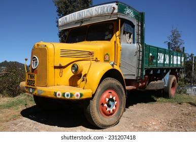 OOTY, INDIA - CIRCA 2011: Vintage truck at Indian driving school