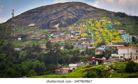 OOTY , INDIA - SEPTEMBER 07 2019 LORD SHIVA TEMPLE ON HILL NEARBY DODDABETTA MOUNTAIN