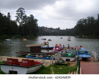 Ooty, Tamil Nadu, India - July 13, 2008  Boat house situated by the Ooty lake offers boating facilities to tourists