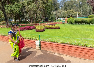 OOTY, TAMIL NADU, INDIA - OCTOBER 25, 2018: The beautiful terraced Government Botanical Gardens in Udhagamandalam, near Ooty (Coimbatore), in the southern Indian state of Tamil Nadu.