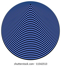 Op Art Concentric Circles Blue Over Black