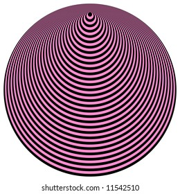 Op Art Concentric Circles Light Purple Over Black