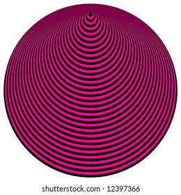 Op Art Concentric Circles Purple Over Black