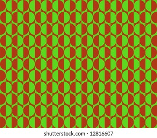 Op Art Facing Each Other In Green And Red