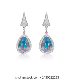 Opal with Diamond Drop Earrings jewelry on white isolate