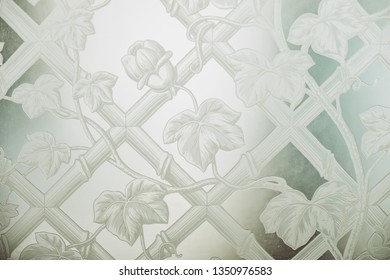 Opaque glass with floral pattern