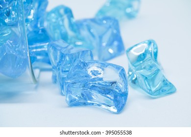 opaque ice cubes in blue color