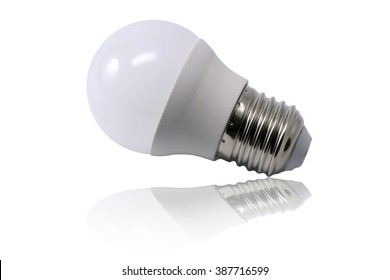 Opaque light bulb isolated on white background with reflection in bottom