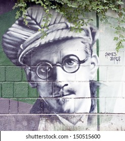 OPATIJA CROATIA - CIRCA JULY 2013: James Joyce graffiti in Angiolina park, Opatija circa July 2013. Faces on this wall represent famous people who visited this Croatian touristic city.