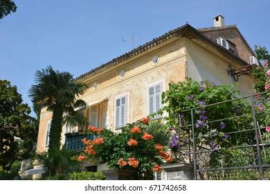 Opatija, Croatia - June 16, 2017 - Mansions near Lungomare promenade in  Opatija