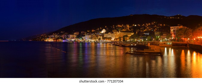 Opatija Town Croatia Night Panorama