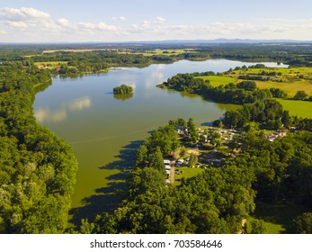 Opatovicky rybnik (Opatovicky pond) with camping site near Trebon in South Bohemia, Czech republic, European union. Famous tourist destination with many landmarks and ponds around.