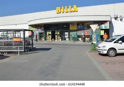 Opava, Czech Republic, 31 March, 2017, Editorial Photo of Billa supermarket, REWE group, Opava, Czech Republic