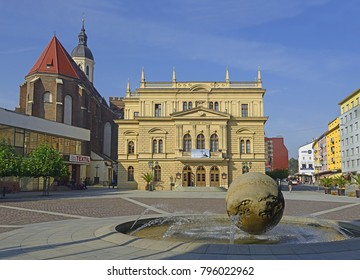 OPAVA, CZECH REPUBLIC - OCTOBER 11: The main square and building Silesian Theatre on October 11, 2014. Opava is the historical capital of Czech Silesia, Opava is now in the Moravian-Silesian Region