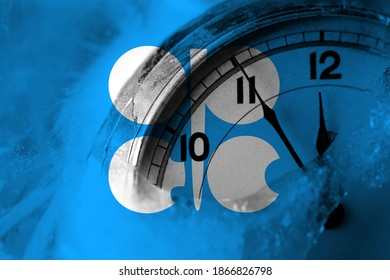 OPEC flag with clock close to midnight in the background. Happy New Year concept