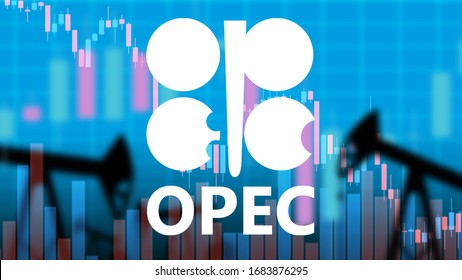OPEC logo. Inscription OPEC on the background of falling charts. Concept - cheaper oil due to export growth. The failure of the OPEC negotiations led to a drop in oil prices. Silhouettes of oil pumps