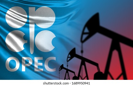 OPEC logo. OPEC on a blue background. Concept - the breakdown of talks between the oil companies. Oil rigs as a symbol of production. Silhouettes. Organization of the Petroleum Exporting Countries