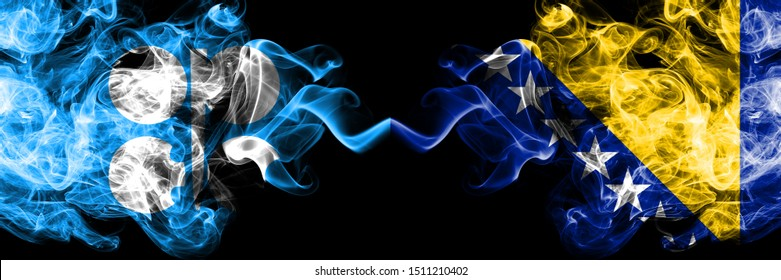 Opec vs Bosnia and Herzegovina, Bosnian abstract smoky mystic flags placed side by side. Thick colored silky smoke flags of Opec and Bosnia and Herzegovina, Bosnian