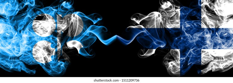 Opec vs Finland, FInnish abstract smoky mystic flags placed side by side. Thick colored silky smoke flags of Opec and Finland, FInnish