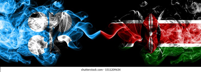 Opec vs Kenya, Kenyan abstract smoky mystic flags placed side by side. Thick colored silky smoke flags of Opec and Kenya, Kenyan