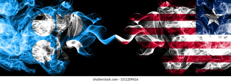 Opec vs Liberia, Liberian abstract smoky mystic flags placed side by side. Thick colored silky smoke flags of Opec and Liberia, Liberian