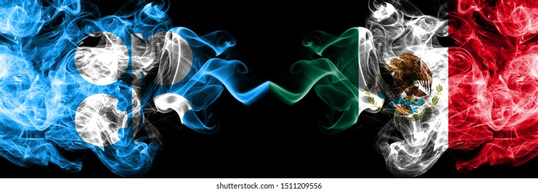 Opec vs Mexico, Mexican abstract smoky mystic flags placed side by side. Thick colored silky smoke flags of Opec and Mexico, Mexican