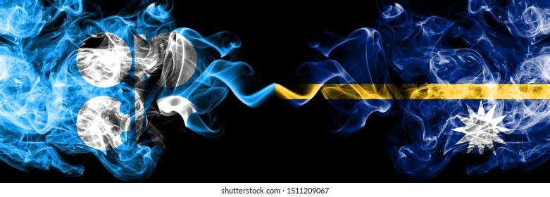 Opec vs Nauru abstract smoky mystic flags placed side by side. Thick colored silky smoke flags of Opec and Nauru