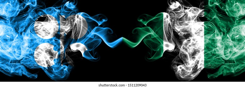Opec vs Nigeria, Nigerian abstract smoky mystic flags placed side by side. Thick colored silky smoke flags of Opec and Nigeria, Nigerian